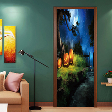 2pcs/set Newest Halloween  Horror Pumpkin Poster Door Stickers Painting Wallpaper Wall Sticker Party Bedroom Home Decor Gifts