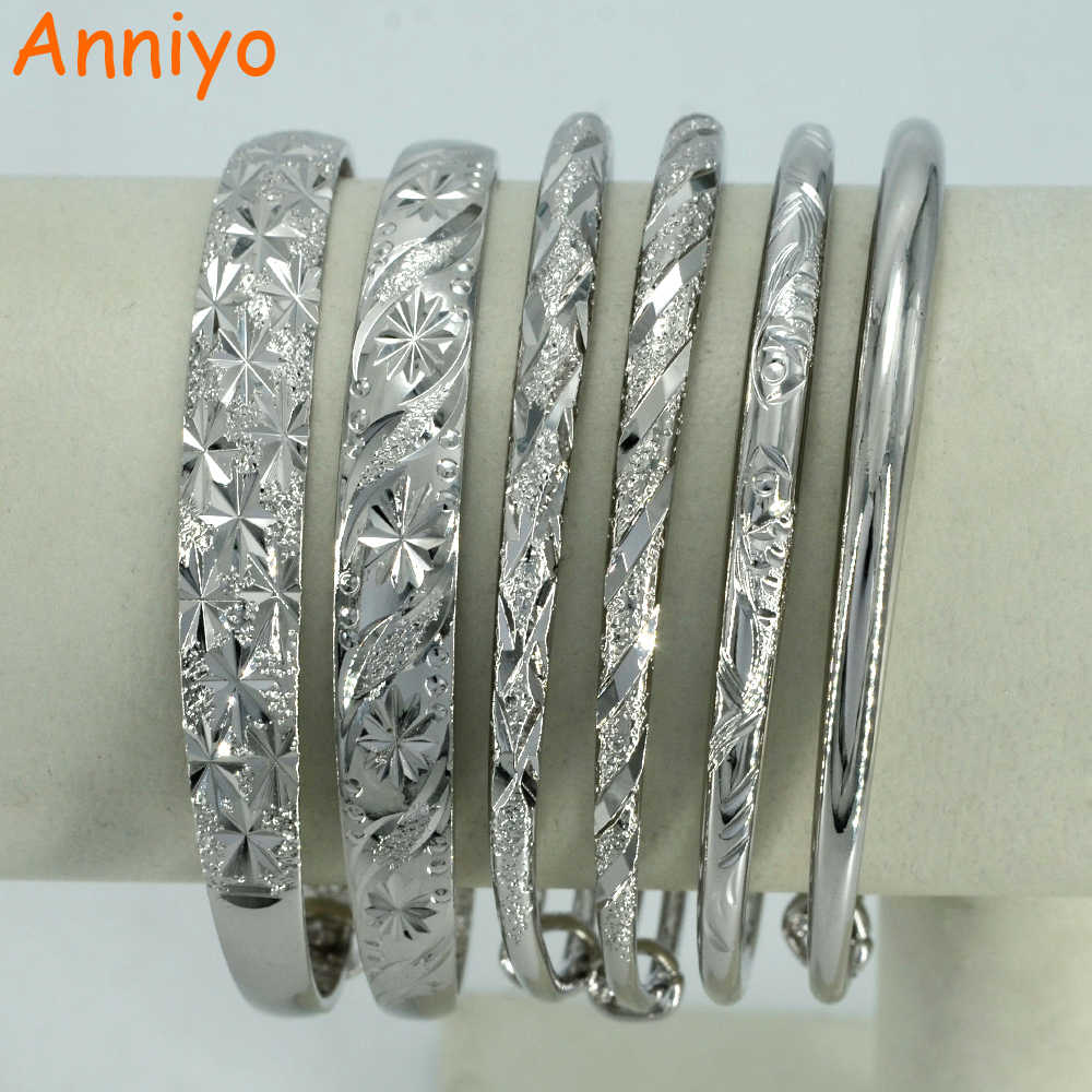 Anniyo ( ONE PIECE ) Silver Color and Copper Bangle for Women/Girl,African Bracelet Jewelry Gift Arab Item #003907