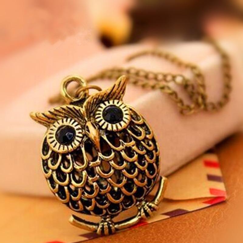 Vintage Owl Design Rhinestones Crystal Pendant Necklaces 1