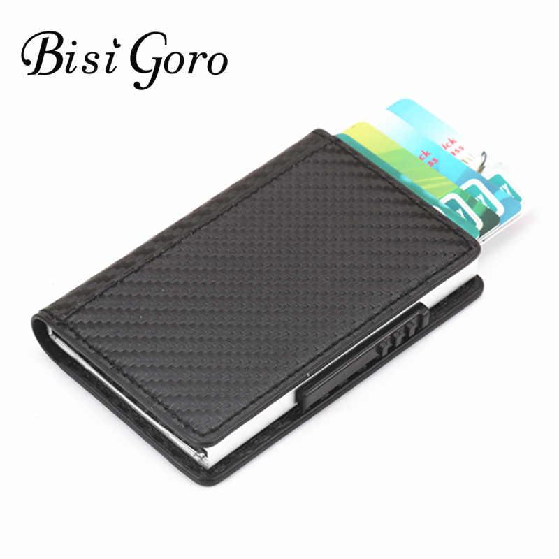 BISI GORO RFID визитница Блокировка Crad кошелек металлический 2019 новый мужской и женский одиночный ящик минималистичный Кошелек Алюминиевый для карт для мужчин