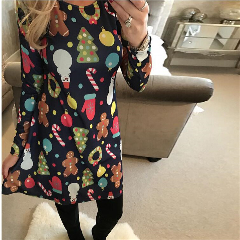 Large Sizes 2018 New Autumn Women Casual Long Sleeve Cute Christmas Tree Snowman Dresses Loose Plus