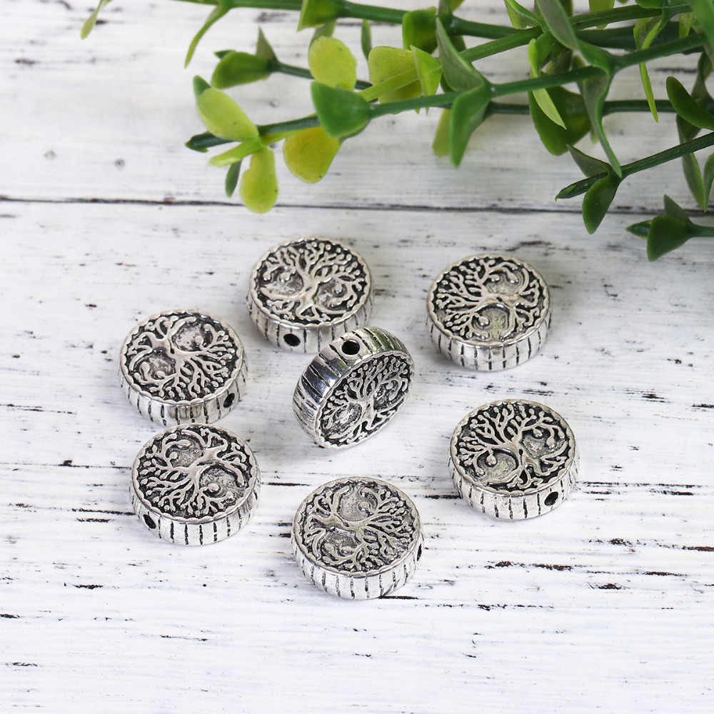 "DoreenBeads Zinc Based Alloy Antique Silver Spacer Beads Round Tree DIY Findings About 15mm( 5/8"") Dia,Hole: Approx 1.9mm, 5 PCs"