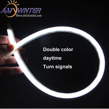 AMYWNTER Flexible Tube 60cm 12V Car Daytime Running Light DRL Single/Dual Color LED Light Angel Eye Lamp and turn signals 2pcs