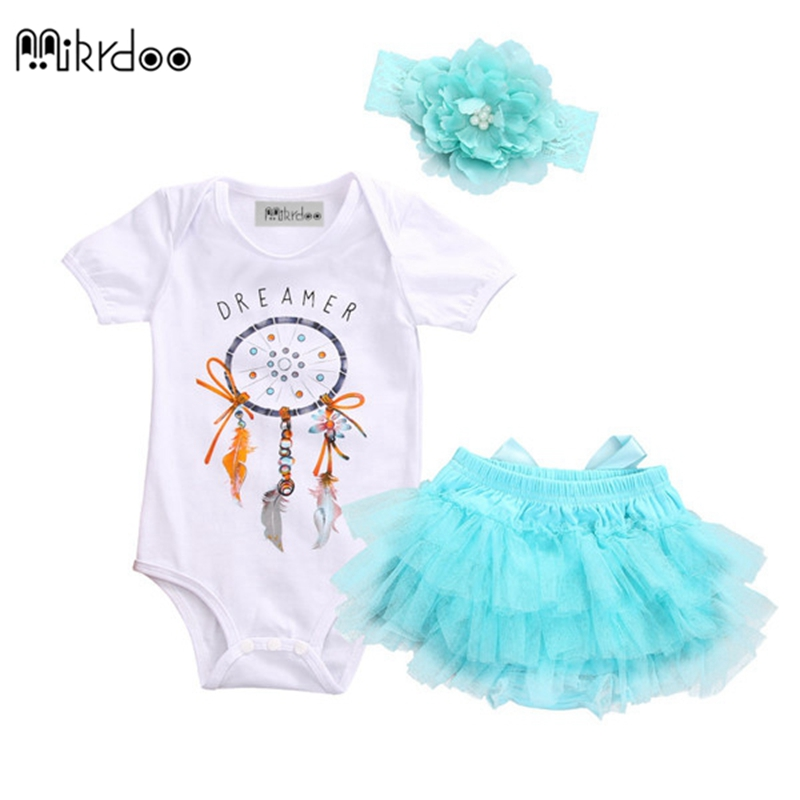 0-24M HOT SALE Mikrdoo Summer Baby Girls Dream catcher Romper +Lace Tutu Skirt Party Tulle +Headband 3pcs Set Sunsuit Outfits