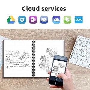 Image 3 - NeWYeS Cuaderno A6 reutilizable con bolígrafo de tinta, libreta borrable inteligente, para diario, con ondas de microondas, borrado en la nube, cuaderno de bolsillo forrado