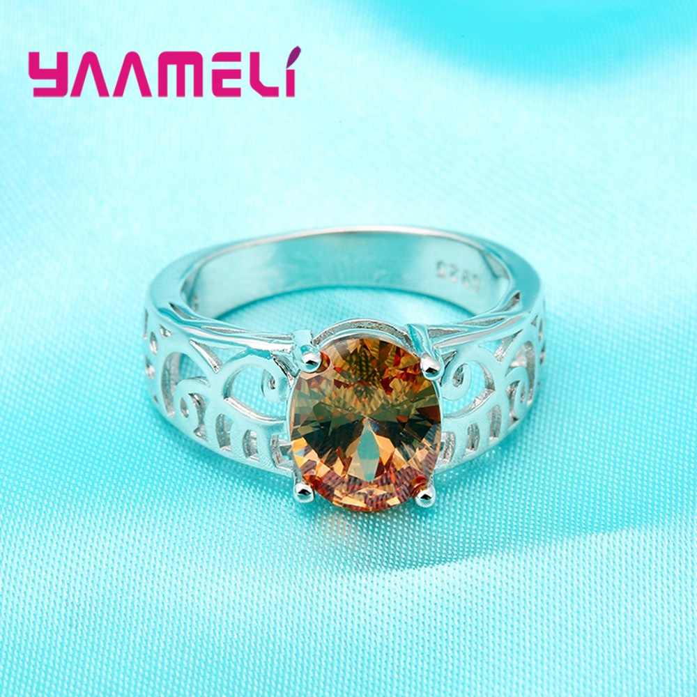 Gorące kobiety kryształowe pierścionki na prezent na rocznicę 925 Sterling srebrne wesele pierścionek zaręczynowy biżuteria Bague Femme Anillos