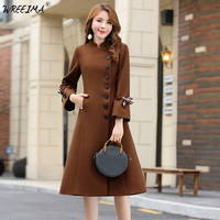wreeima Winter Woman Wool Coats Warm 2018 A Line Slim Fit Fashion Casual Office Blends Womans Wool coat Jacket Camel/gray/black