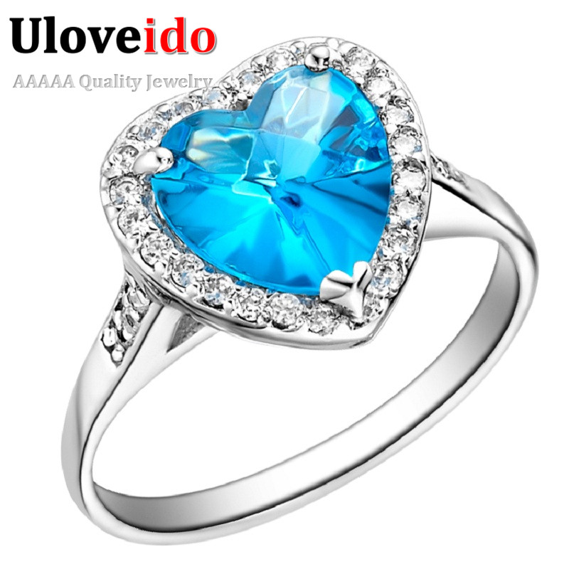 5% Off Heart Engagement Ring Silver Rings for Women Fashion Jewelry Love Acessories Cubic Zirconia Blue /Purple Uloveido J074
