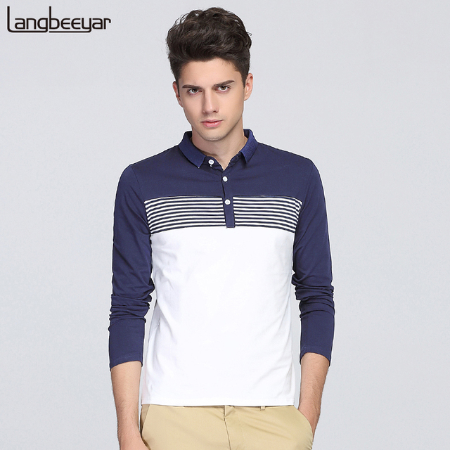 2017 New Fashion Mens Polo Shirt Brands Clothing Turn Down Collor Slim Fit Polo Men Long Sleeve Striped Casual Polo Shirt Men