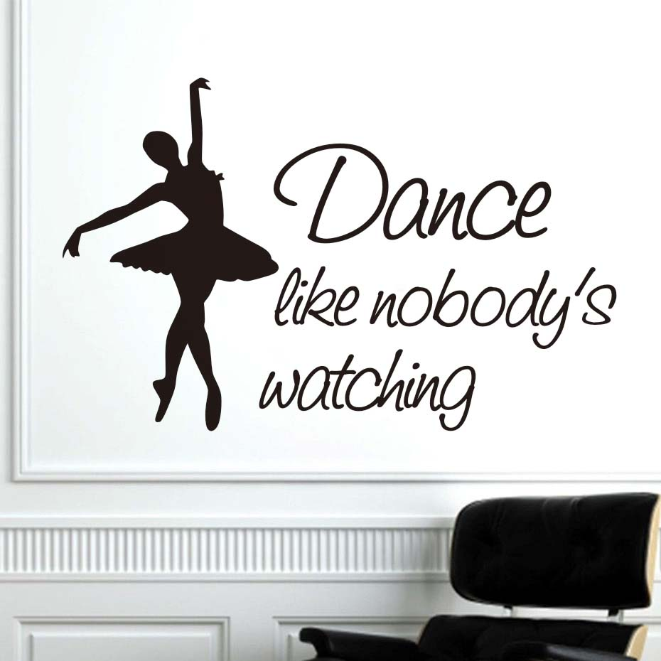 Dctop dance like nobodys watching ballerina wall stickers living dctop dance like nobodys watching ballerina wall stickers living room wall decor beautiful girls vinyl wall decals sticker diy in wall stickers from home amipublicfo Gallery