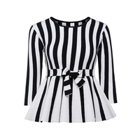 Sisjuly Women 60s Sweaters Autumn Striped Bow Belt O Neck Falbala Pullover Long Sleeve Fashion Casual
