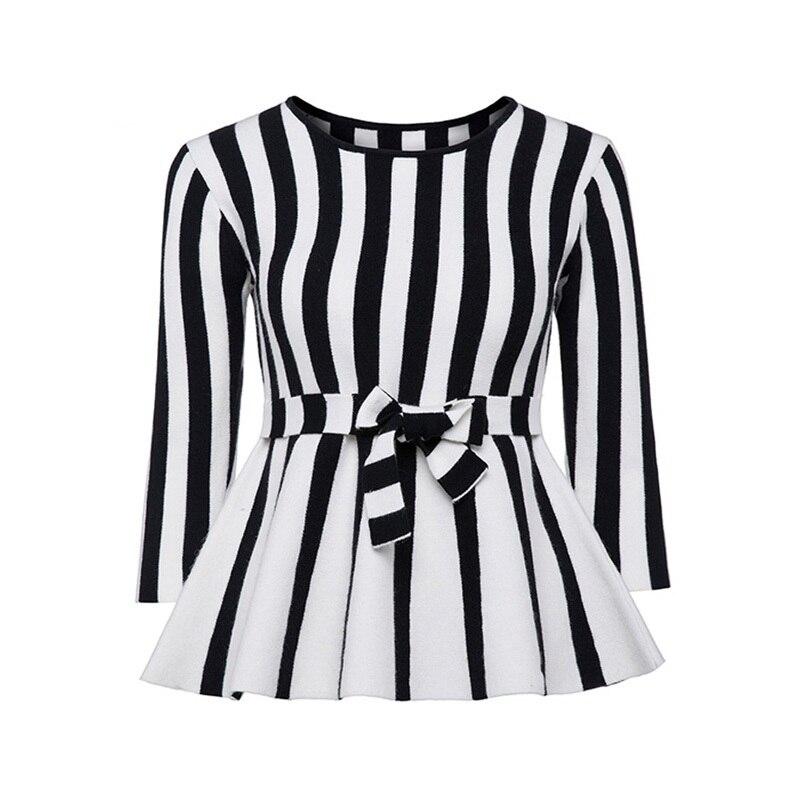 Sisjuly Women 60s Sweaters Autumn Striped Bow Belt O Neck Falbala Pullover Long Sleeve Fashion Casual