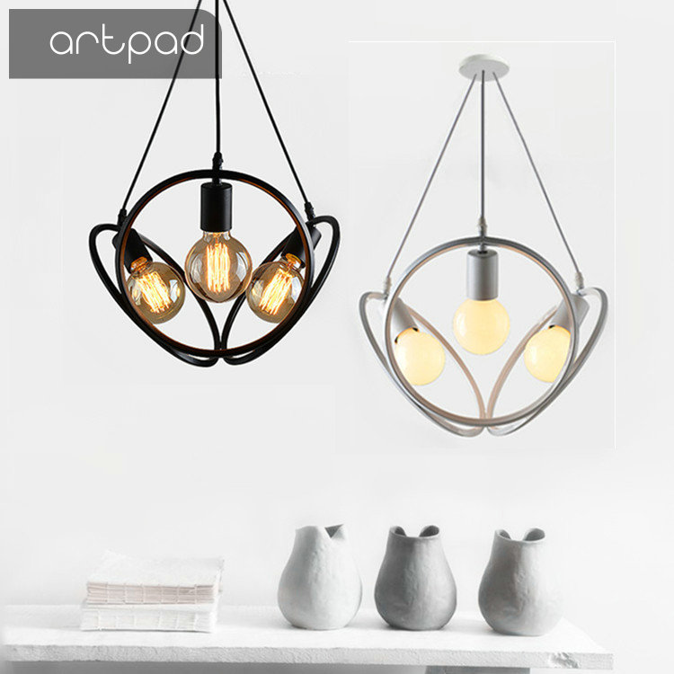 Artpad Iron E27 American Loft Lamp Bar Restaurant Coffee Shop Showcase Lighting Led Cord Industrial Style Pendant Lighting vintage wicker pendant lamp hand made knitted hemp rope iron coffee shop pendant lamps loft lamp american lamp free shipping