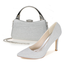 Sparkling glitter pointed toe pumps fashion shoes with matching clutch bag bling bling kit silver red party queen set prom kit