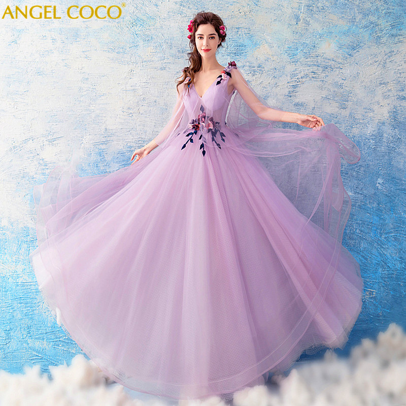 Sexy Evening Dress Big Short Sleeves Pregnant Women High Waist Hand Made Flowers Maternity Evening Dress 2018 Real Picture