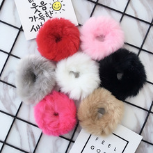 Фотография New Fashion Children Kids Pom Pom Faux Fur Winter Elastic Hair Bands Bunny Babygirl Headwear Head Wear White Pink Gray Red