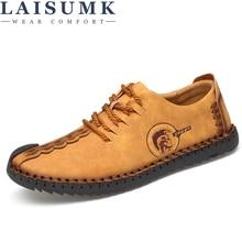 LAISUMK 2019 New Comfortable Casual Shoes Loafers Men Shoes Quality Split Leather Shoes Men Flats Hot Sale Moccasins Shoes все цены