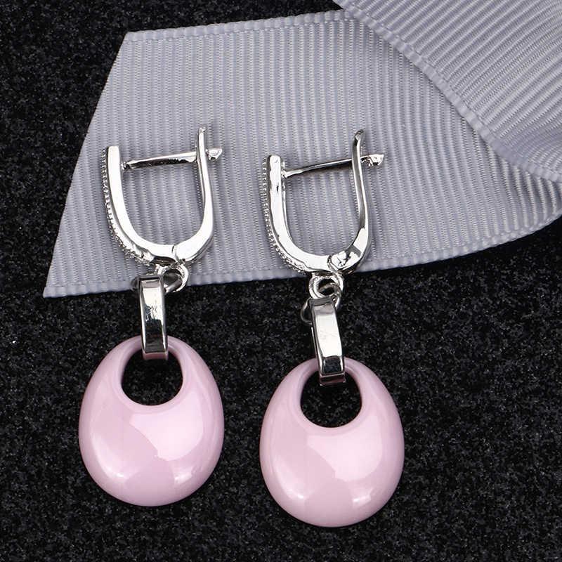 Conjunto de Anel e Brincos de Jóias De Cerâmica rosa X Cruz Anel de Cerâmica Com Cristal Gota de Água Brincos Conjuntos de Jóias para mulheres