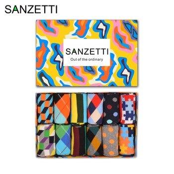 SANZETTI  12 pairs/lot Gift Box Classic Men's Combed Cotton Causal Dress Wedding Socks Stripe Geometry Pattern Funny Crew Socks