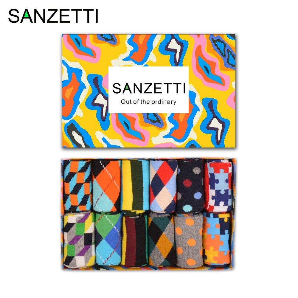 SANZETTI 12 pairs/lot Gift Box Classic Mens Combed Cotton Causal Dress Wedding Socks Stripe Geometry Pattern Funny Crew Socks