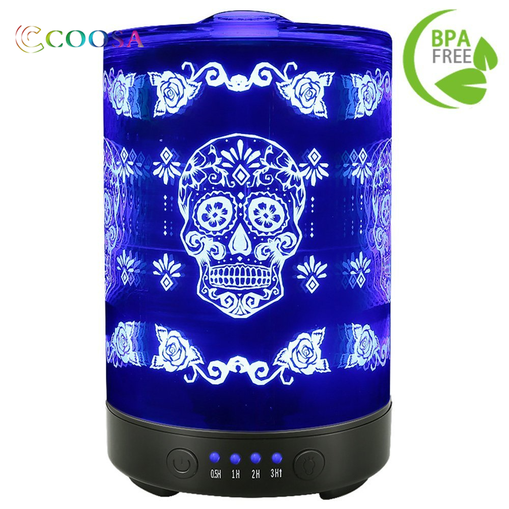 Shipping From Russia Noiseless font b Humidifier b font Skull Flower Pattern 100ml Aroma diffuser 7