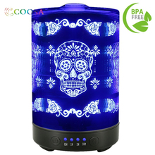 Shipping From Russia Noiseless Humidifier Skull Flower Pattern 100ml Aroma diffuser 7 Colors Night Light For Chrismas Home Decor