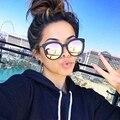 Mulheres de Luxo Da Marca óculos de Sol Da Liga Quadro Rodada Óculos De Sol Das Mulheres 2017 de Moda de Nova Espelho Refletir Óculos de Sol Oversize Sexy Sombra