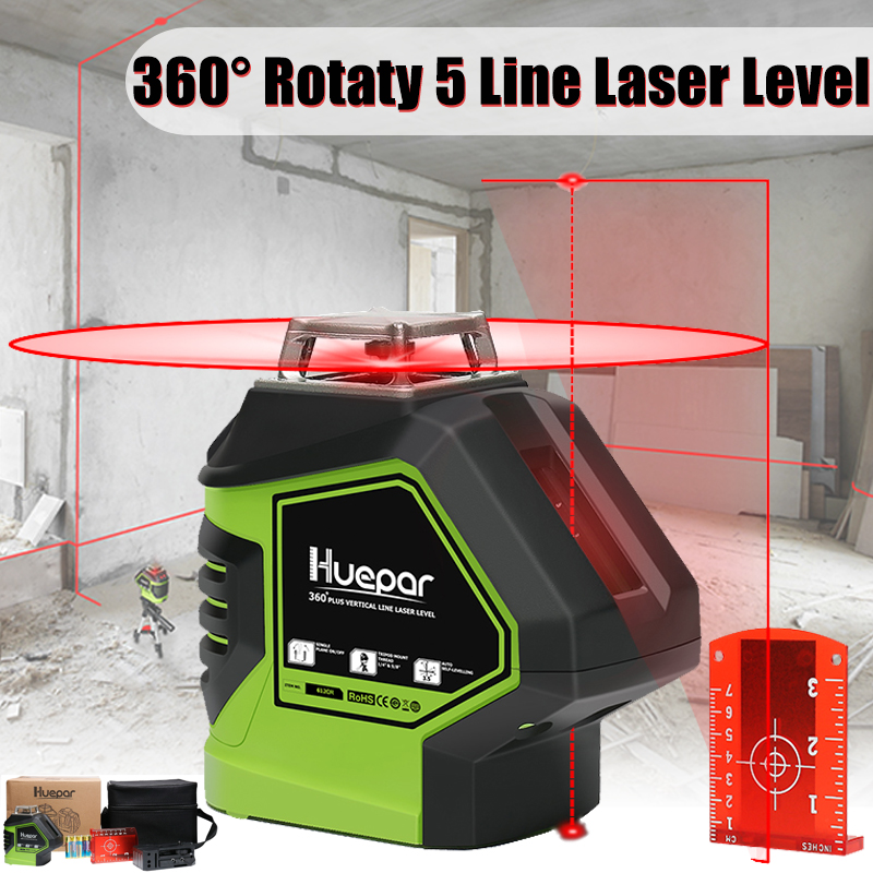 360 Rotary Slash Function 5 Line Red Beam Cross Line 3D Self Leveling Vertical Horizontal Laser Level Measuring Tool 5 line red green 360 degree rotary laser level high accuracy self leveling cross meter construction level measuring tool