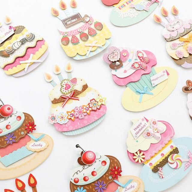 Happy birthday cake 3d mini greeting card postcard birthday gift happy birthday cake 3d mini greeting card postcard birthday gift card set message card letter envelope m4hsunfo