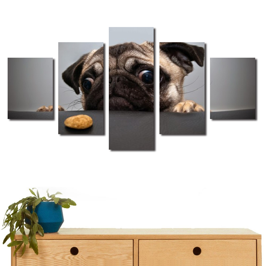 Tuval HD Baskılar Posteri Duvar Sanatı Çerçeve 5 Adet Sevimli Köpek Yüz Resimleri Hayvan Pug Resimleri Için Oturma Odası Ev deko