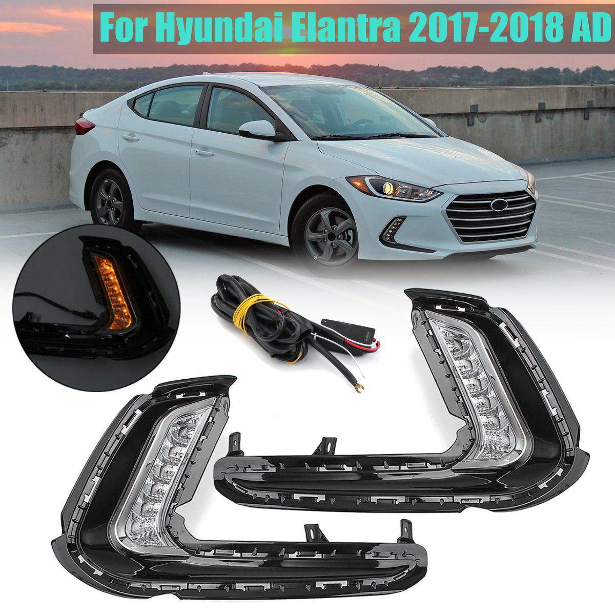где купить 1Pair fog lamp Signal light Daytime Running Lamp LED Fog Turn with yellow signal For Hyundai Elantra 2017-2018 AD по лучшей цене