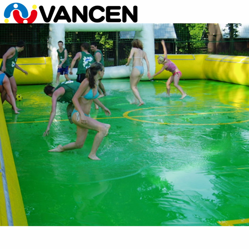 Guangzhou VANCEN inflatable soap soccer field football stadium for team sport game PVC material inflatable water soccer field