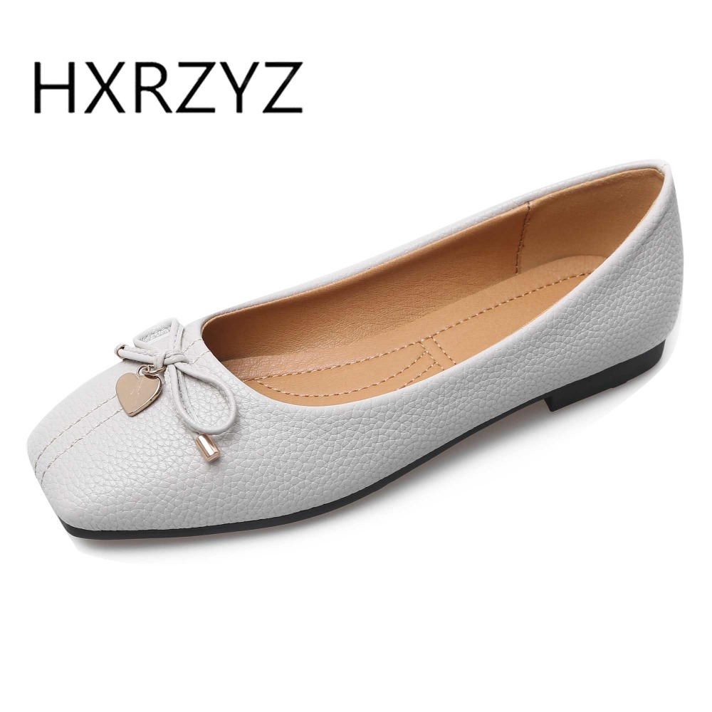 HXRZYZ large size black women flat shoes female bowknot square toe leather loafers spring/autumn new fashion ladies casual shoes 2017 new spring female flat heels martin shoes bullock shoes female thick bottom loafers large size women shoes obuv ayakkab