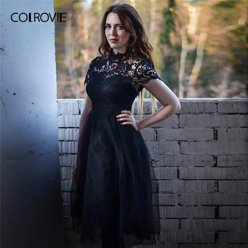 0e242da76b7 Detail Feedback Questions about COLROVIE Black Solid Floral Bodice Mesh  Lace Sexy Dress Women 2018 Autumn Long Party Dress Vintage A Line Elegant  Dresses on ...