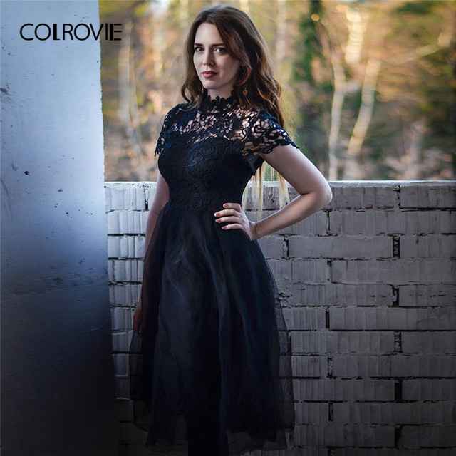 8fcf02cd2fb12 US $21.99 45% OFF COLROVIE Black Solid Floral Bodice Mesh Lace Sexy Dress  Women 2018 Autumn Long Party Dress Vintage A Line Elegant Dresses -in ...