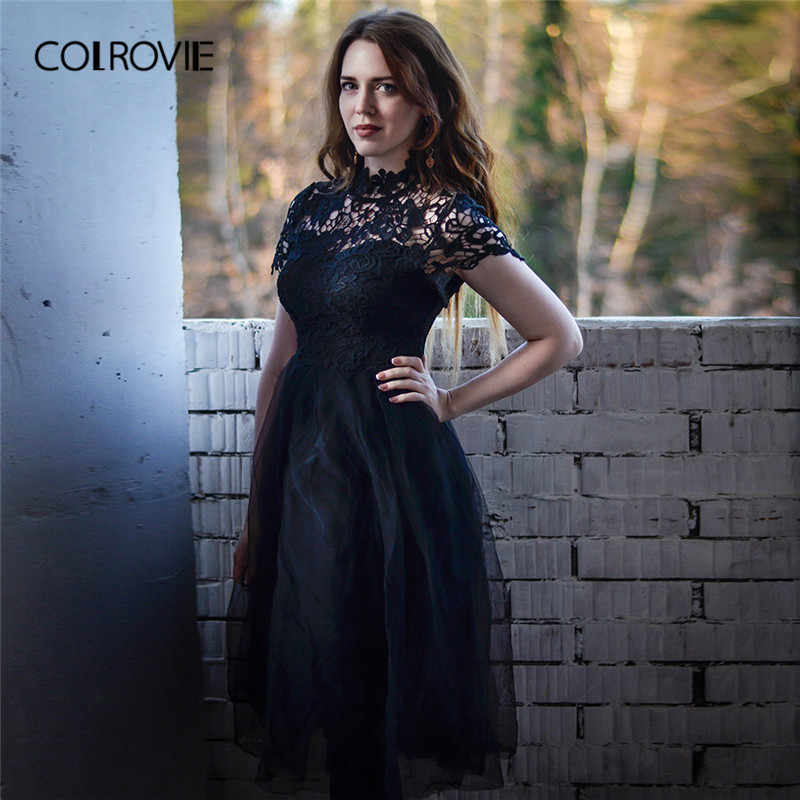 d45bb421ad0 COLROVIE Black Solid Floral Bodice Mesh Lace Sexy Dress Women 2018 Autumn  Long Party Dress Vintage