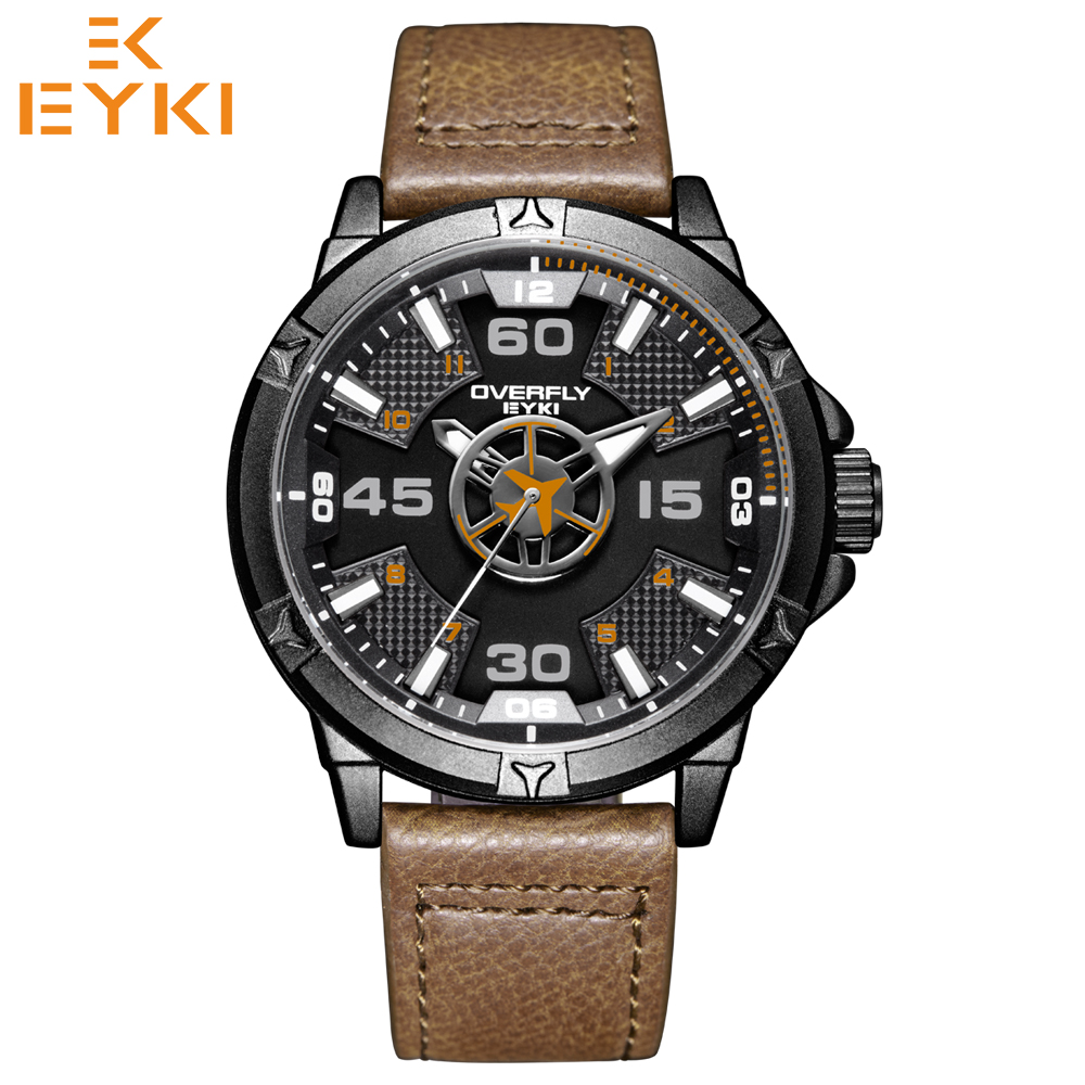EYKI Men's fashion stylish sport quartz wristwatches cool aircraft military male watch luxury waterproof clock Relogio Masculino 2017 luxury men s oulm watch sport relojes japan double movement square dial compass function military cool stylish wristwatches