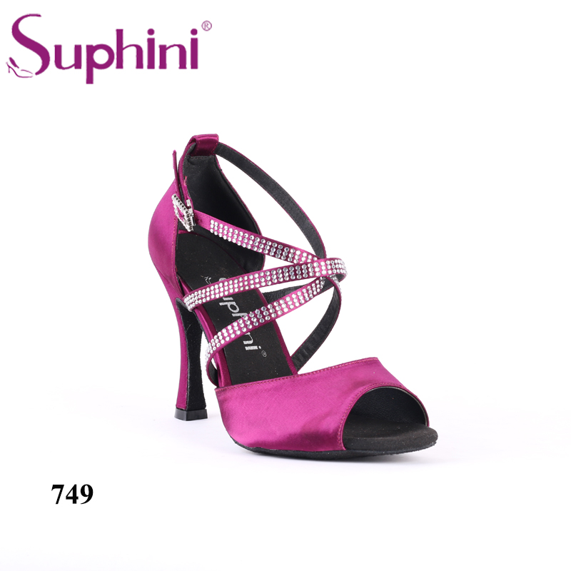 Livraison gratuite à la main Suphini strass Rumba chaussures de danse latine