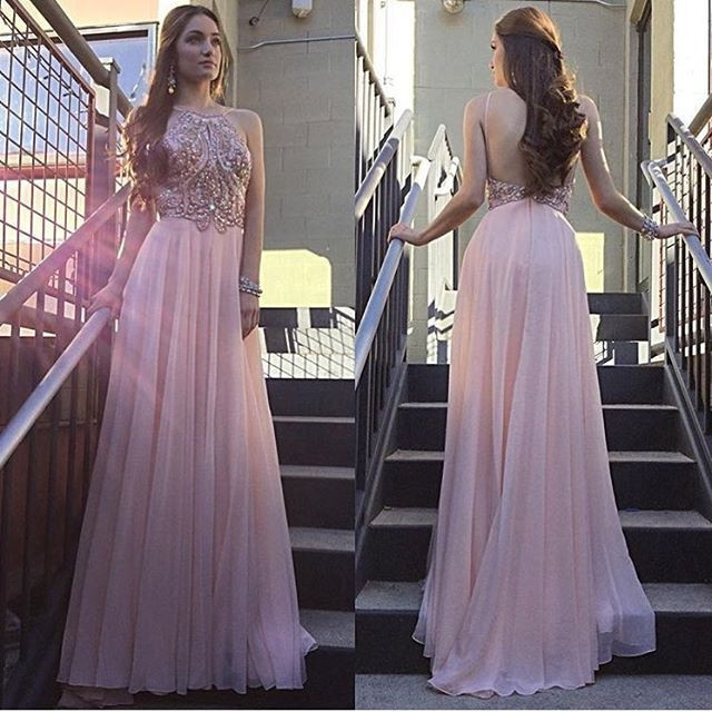 Blush Pink Beaded Crystal   Prom     Dresses   Long 2019 vestidos de fiesta de noche Backless Imported Party   Dress   A Line Formal Gowns