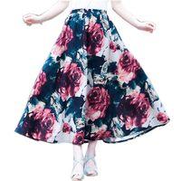 New Fashion Ethnic Skirt Summer Women Big Swing Skirts Bohemian Style Linen Long Skirts Ankle