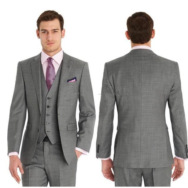 Slim Fit Side Vents Light Grey Groom Tuxedos Notch Lapeljacket