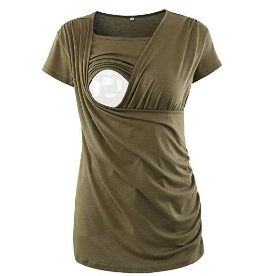 Maternity Nursing Comfy Tank Tops Breastfeeding Clothes T-shirts Tees Womens Ruched Side-Shirred Nursing Top Short Sleeve