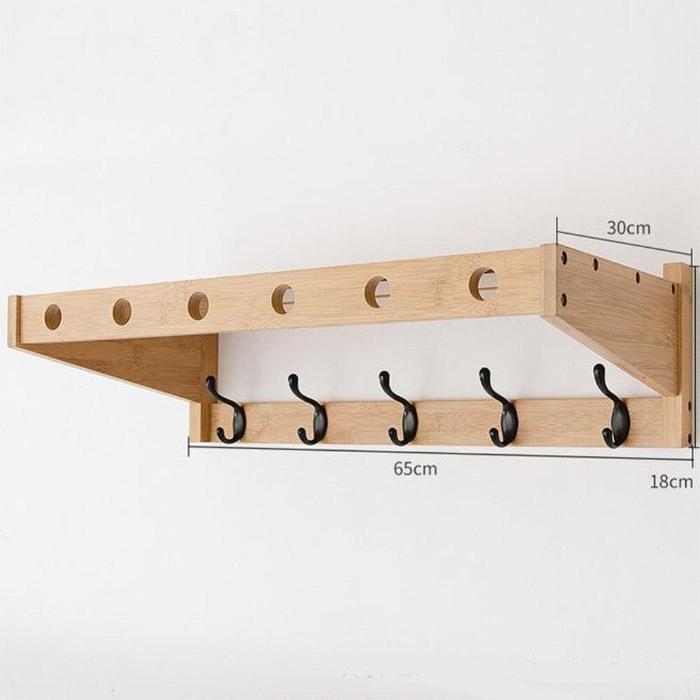 4 6 Hook Bamboo Wall Mounted Rack Coat Hook Rack Towel Hanger Holder ...