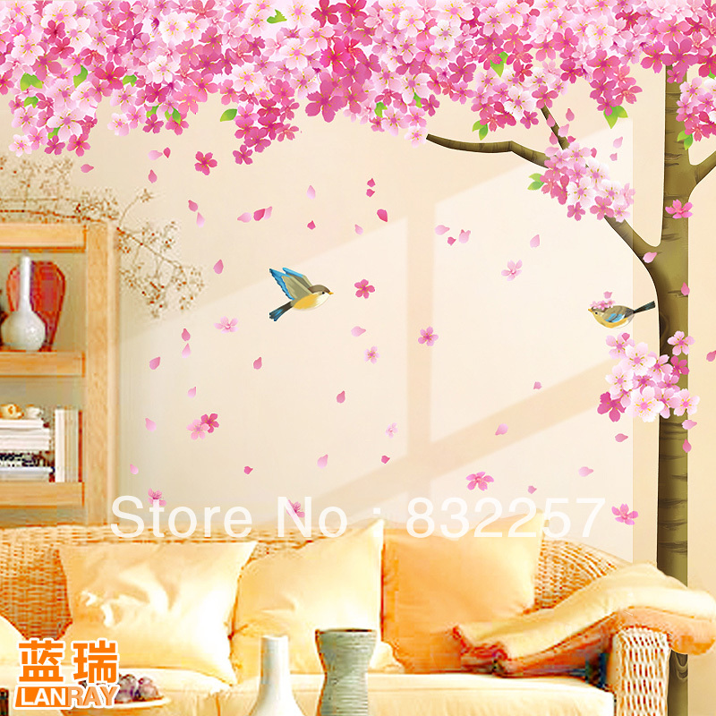 Furnishings Wall Stickers Tv Decoration Sticker Cherry Tree Room Family Decal In From Home