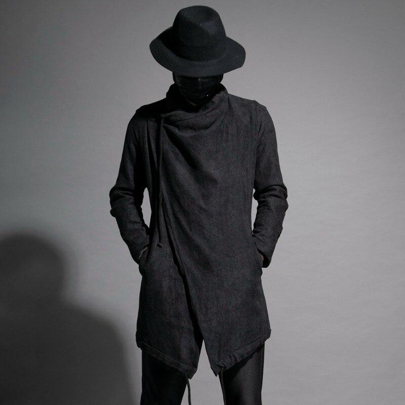 Foncé de Personnalité Automne Hommes Long Manteau Manteau Capitaine Coupe-Vent Veste Mâle Tranchée Manteau Hommes Hommes Gothique Steampunk De Mode 2018