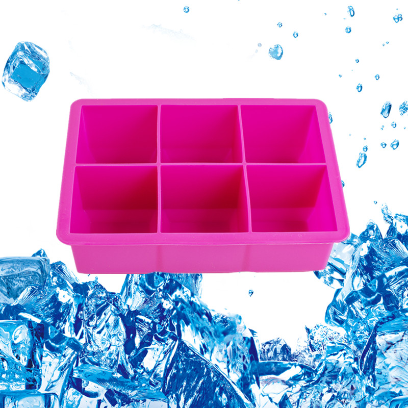 Wholesale Red 6 Cavity Silicone Drinking Ice Cube Maker Tray Molds Whiskey Cocktails Big tube