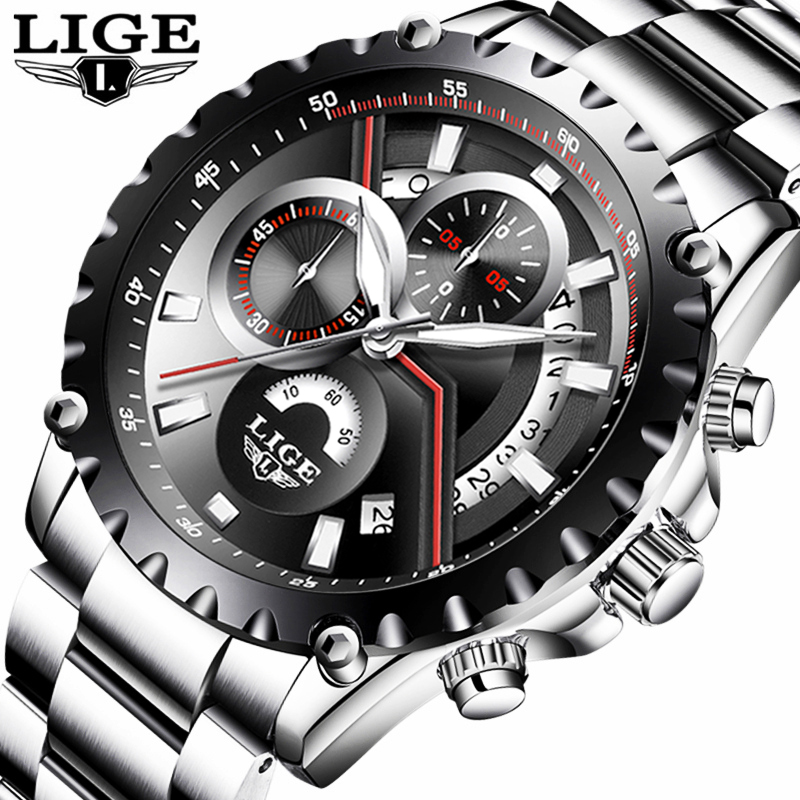 LIGE New Fashion Mens Watch Men Full Steel Business Luxury