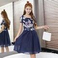 ГАЙАВАТА 2017 Летние Женщины Dress Органзы Два Слоя Мяч Выросли Середина длинные Платья С Поясом K8001