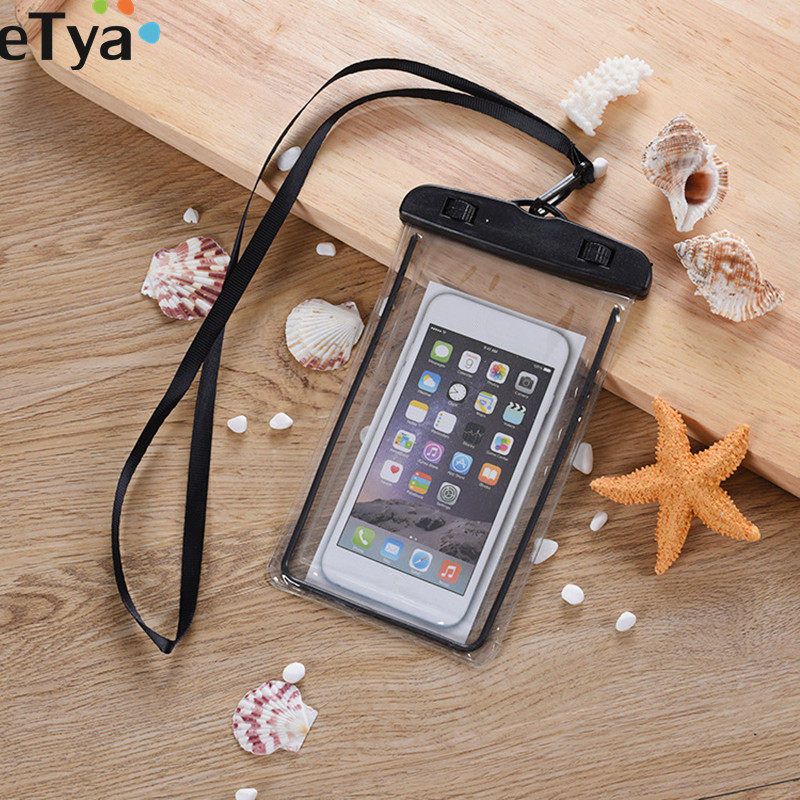 ETya Travel Accessories Waterproof Packing Phone Coin Money Bag Pouch PVC Clear Swimming Beach String Earphone Wallet Bags Case