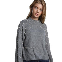 WKOUD Sweater Women Sueter Mujer Invierno 2019 Sexy Beading Knitted Pullovers New OL Winter Clothes Fashion Streetwear Y8059